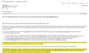 Some students may find the tone or impersonal approach to email communication from Queen's upsetting.