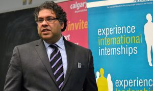 Naheed Nenshi spoke to a crowd of approximately 100 people yesterday.