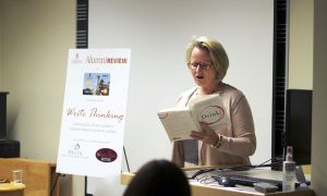 Dowsett Johnston spoke at the final installment of the Queen's Alumni Review's Write Thinking Authors Series.