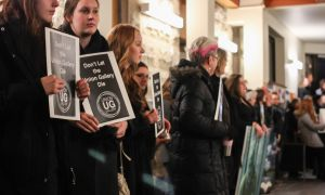 Students and Kingston residents protest the loss of the Union Gallery fee.