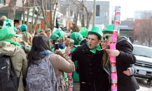 Students celebrate St. Patrick's Day on Aberdeen St.