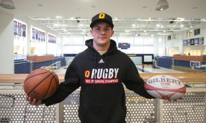 Men's rugby forward Brendan Sloan coaches a special needs basketball team at KCVI.