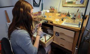 Miranda Scott, co-owner of Alchemy House Jewellery, handmaking an original piece.