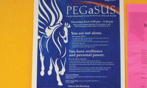 A poster in the La Salle building advertising PEGaSUS.