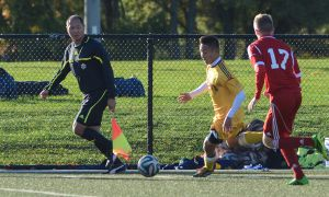 Forward Tommy Hong got the Gaels on the board in their 5-0 victory over RMC with a 15th-minute goal.