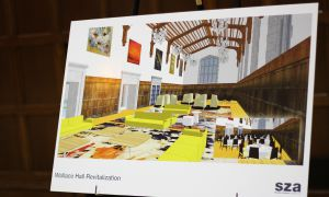 An image showing the potential renovation of Wallace Hall to become a student lounge space.