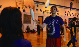 A local juggler shows off his skills.