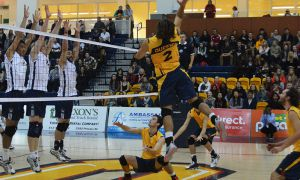 Outside Hitter Markus Trence racked up 10 kills for the Gaels against the Windsor Lancers.