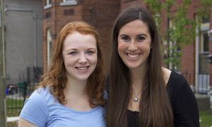 Lia Baird, left, and Zoey Katz are members of the Holocaust Education Week 2014 Committee.