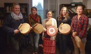 Hand drumming is offered every week at the Four Directions Aboriginal Student Centre.