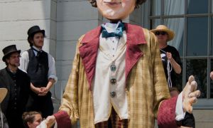 A puppet of Sir John A. Macdonald at City Hall on Canada Day.