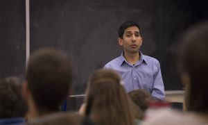 Sunjay Nath spoke to students in Sir John A. Macdonald Hall Thursday night.