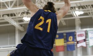 Greg Faulkner connected on just three of 13 field goal attempts — including this dunk — in the Gaels' 85-76 loss to the Laurentian Voyageurs last Saturday.