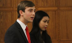 Mike Blair, left, and Jennifer Li, the candidates for Undergraduate Student Trustee.