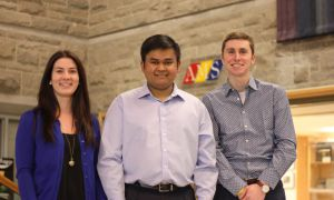 From left: Catherine Wright, Kanivanan Chinniah and Kyle Beaudry.