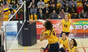 Outside hitter Philippe Goyer (9) found his attacks consistently blocked by the McMaster in the Gaels straight-set loss to the Marauders.