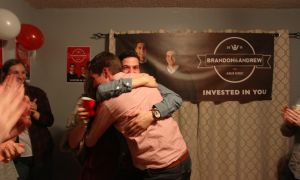 Brandon Jamieson and Andrew DiCapua embrace after finding out they won the ASUS executive election.