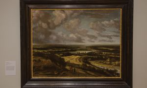 Panoramic River Landscape with Hunters by Philips Koninck.