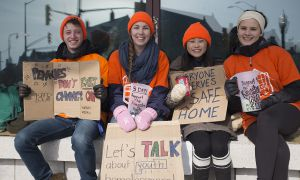 Four of the students camped outside Stauffer Library as part of 5 Days for Homelessness.
