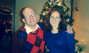 Devin Cleary and her buddy Warren at a holiday party.