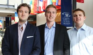 Sean Pitcher, Sam Morse and Evan Burns aim to educate students on real estate opportunities.