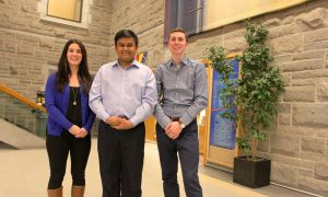 From left: Catherine Wright, Kanivanan Chinniah and Kyle Beaudry, who were elected AMS executive by acclamation in January after no other teams were eligible to run against them.