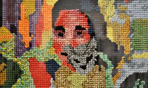 Knitted work at Logue and Mitchel's exhibition I'm Not Myself At All.