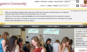 A screenshot of www.queensu.ca with a notice about the outage
