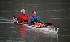 Queen's Professor Dr. Bob Ross (left) and his racing partner Dave Hutchison finished first in the Yukon River Quest.