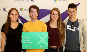 The Walkly team at The Microsoft Imagine Cup — Julie Lycklama, Riley Karson, Anastasiya Tarnouskaya and Christopher Thomas.