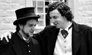 Two SALON Theatre Productions actors during a production of In Sir John A.'s Footsteps earlier in the year.
