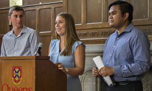Kyle Beaudry (left) and Kanivanan Chinniah (right) stand on either side of Sarah Letersky (middle) following the announcement of her appointment as Vice-President (University Affairs) on Aug. 26.