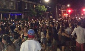 Crowds gathered on University Ave. Tuesday night.