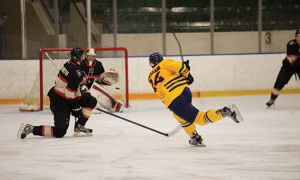 Spencer Abraham (#24) led the men's hockey team with three goals on the road trip.