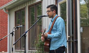Mike Young, Con Ed '15, performing at the QJump CoffeeHouse event on Sunday.