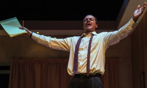 Actor Michael Blake plays Martin Luther King Jr. in Theatre Kingston's production of The Mountaintop.