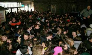 "Massive crowd gathers outside the Underground entrance for the ""I'm a Belieber"" event on Tuesday."