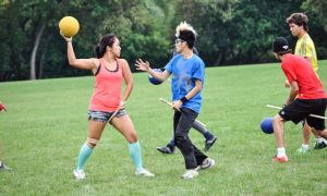 Jessalynn Tsang (left) plays the position of Beater on Queen's Quidditch team.