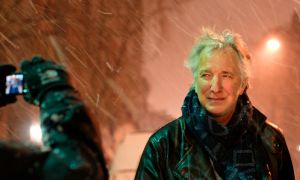 Alan Rickman posing for pictures at the stage door after a performance of Ibsen's John Gabriel Borkman at the Brooklyn Academy of Music.