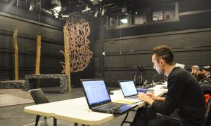The tech team preparing for Macbeth, year's School of Drama and Music Winter Major, at the Isabel Bader Centre.