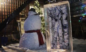 An art piece encased in ice is one of many pieces in the exhibition Froid'Art, which hopes to revive the cheer of winter.