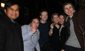 Current AMS executive presents team LWT with a couple of cigars, as per tradition after announcing the winner of the election. From left: current AMS president, Kanivanan Chinniah; Vice-President-elect (Operations), Dave Walker; President-elect, Tyler Lively; Vice-President-elect (University Affairs), Carolyn Thompson; current Vice-President (University Affairs), Sarah Letersky; current Vice-President (Operations) Kyle Beaudry.