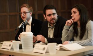 Greg Radisic, Colin Zarzour and Sarah Anderson of Team CSG at the AMS executive debate in January.