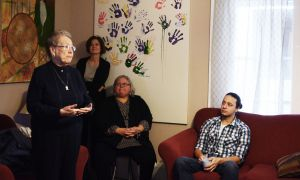 """From left: Marlene Brant Castellano, Ann Tierney, Janice Hill and Haven Moses all at Four Directions Aboriginal Centre to celebrate last week's launch of the provincial """"Let's Take Our Future Further"""" campaign."""
