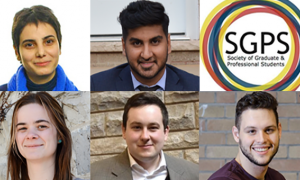 Clockwise from top left: Saba Farbodkia, President-elect; Kishan Lakhani, VP Professional-elect; Sebastian Gorlewski, VP Graduate-elect; Stuart Clark, VP Finance & Services-elect; and Anastasiya Boika, VP Campaigns & Community Affairs-elect.