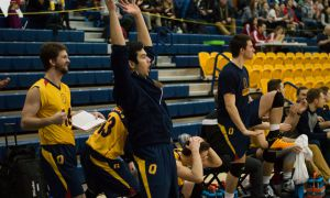 The Gaels bench cheers as the team wins a point.
