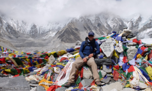 Walsh pauses for a quick photo at Everest Base Camp in Nepal