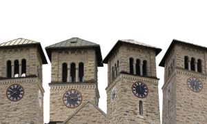 Grant Hall clock tower pictured from all four sides.