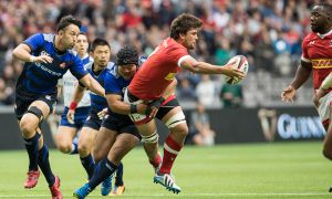 Lucas Rumball (centre), has spent this summer with Rubgy Canada's senior team playing against Japan, Russia and Italy.