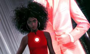 Front cover of an Iron Man comic featuring Riri Williams